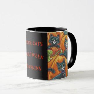 Black Cats Pumpkin Patch HALLOWEEN MUG *Customize