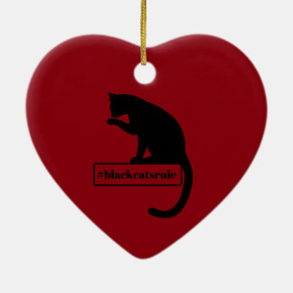 Black Cats Rule Ceramic Heart Ornament