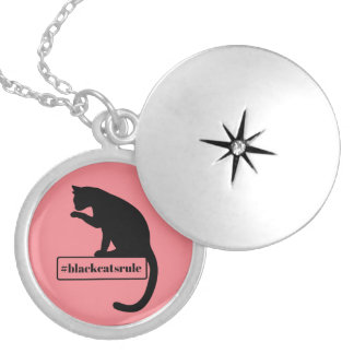 Black Cats Rule Locket Necklace
