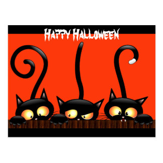 "Black Cats Say ""Happy Halloween"" Postcard"