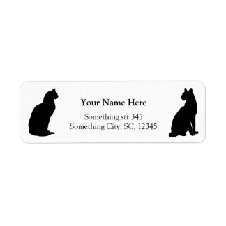 Black cats silhouette custom address labels