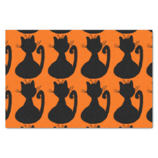 Black Cats Silhouette on Orange Tissue Paper