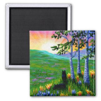 Black Cats Sunset Birch Trees Creationarts Magnet