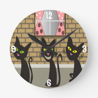 Black Cats Whimsical Clock