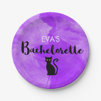Black Cats Witchy Halloween Bachelorette Party Paper Plate