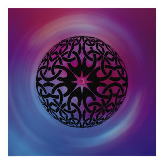 Black Celtic knot circle Poster