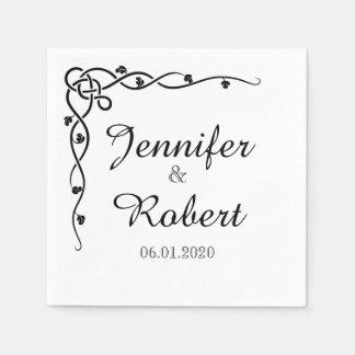 Black Celtic Knot Corner Vine Wedding Napkin
