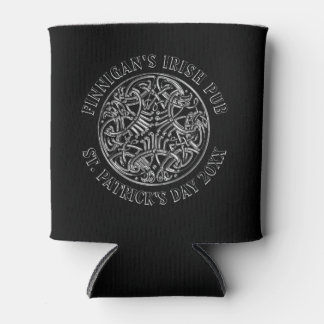 Black Celtic Pattern St. Patrick's Day Can Cooler