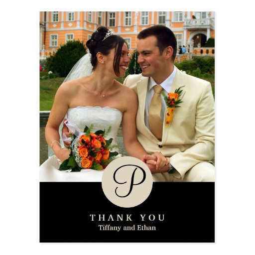 Black center classic monogram photo thank you note postcards