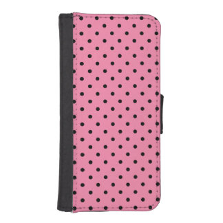 Black center Small Black Polka Dots on hot pink Phone Wallet