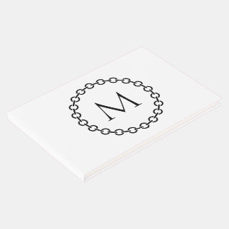 Black Chain Link Ring Circle Monogram Guest Book