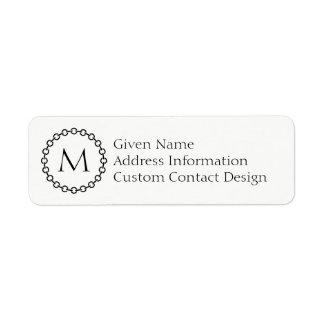 Black Chain Link Ring Circle Monogram Return Address Label