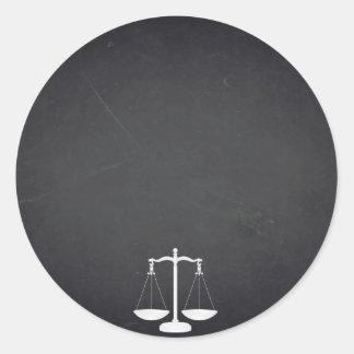 Black Chalkboard Attorney Law Customize Text Classic Round Sticker