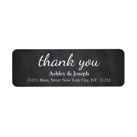 Black Chalkboard Custom Monogram Thank You Return Address Label