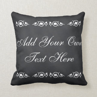 Black Chalkboard Custom Motivational Quote Throw Pillow