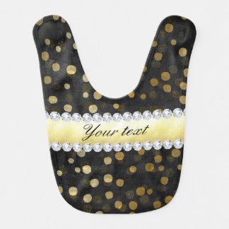 Black Chalkboard Gold Confetti Diamonds Bib