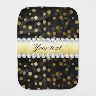 Black Chalkboard Gold Confetti Diamonds Burp Cloth
