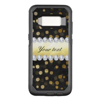 Black Chalkboard Gold Confetti Diamonds OtterBox Commuter Samsung Galaxy S8 Case