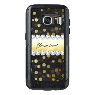 Black Chalkboard Gold Confetti Diamonds OtterBox Samsung Galaxy S7 Case