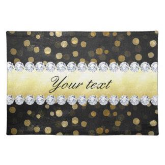 Black Chalkboard Gold Confetti Diamonds Placemat