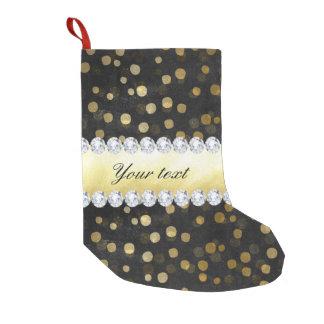 Black Chalkboard Gold Confetti Diamonds Small Christmas Stocking
