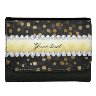 Black Chalkboard Gold Confetti Diamonds Wallets
