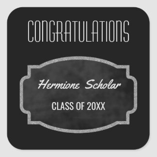 Black Chalkboard Graduation Party Favor | Class of Square Sticker