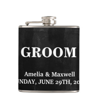 Black Chalkboard Groomsman Hip Flask