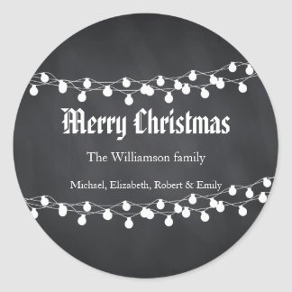 Black Chalkboard Holiday Christmas Lights Round Sticker