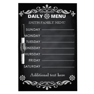 Black Chalkboard Kitchen Personalize Weekly Menu Dry-Erase Boards
