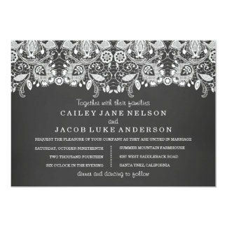 Black Chalkboard & Lace Wedding Invitation