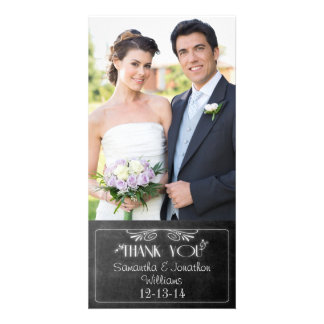 Black Chalkboard Photo Wedding Thank You Card
