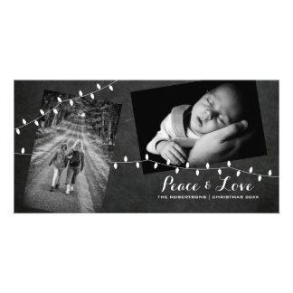 Black Chalkboard Photos Light Peace Love Christmas Card