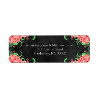 Black Chalkboard Pink Floral Return Address Labels