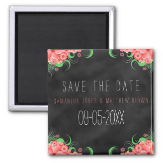 Black Chalkboard Pink Floral Save The Date Magnets