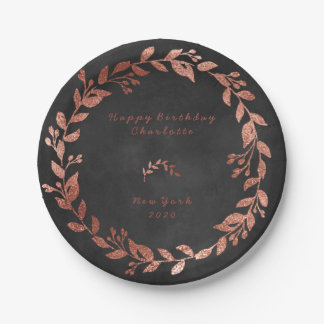 Black Chalkboard Pink Rose Gold Gray Christmas Paper Plate