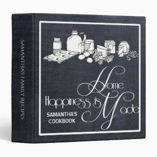 Black Chalkboard Recipe Cookbook 3 Ring Binder