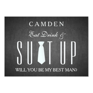 """Black Chalkboard Suitup Will you be my Bestman 5"""" X 7"""" Invitation Card"""