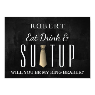 Black Chalkboard Suitup Will you be my ring bearer Card