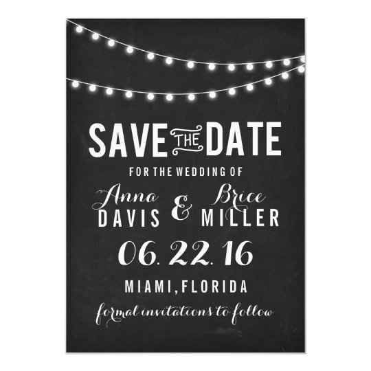 Black Chalkboard Summer String Light Save The Date Card