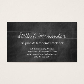 Black Chalkboard Teacher Tutor Business Card