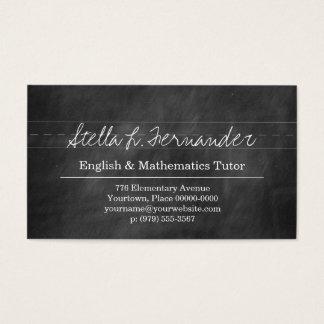 Black Chalkboard Teacher Tutor Business Card