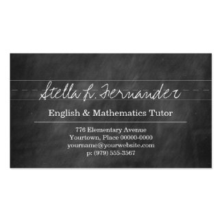 Black Chalkboard Teacher Tutor Pack Of Standard Business Cards