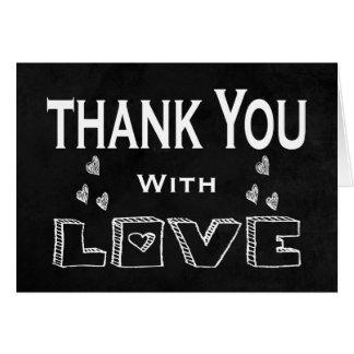 Black Chalkboard Thank You Love Hearts Wedding Card