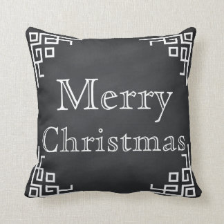 Black Chalkboard White Swirl Merry Christmas Throw Pillow