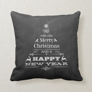 Black Chalkboard Wish You a Merry Christmas Tree Throw Pillow