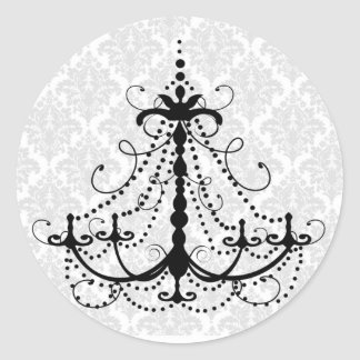 Black chandelier and damask classic round sticker