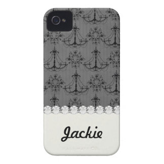 black chandelier damask pattern iPhone 4 covers