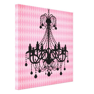 Black Chandelier Vintage Pink Diamond Pattern Gallery Wrap Canvas