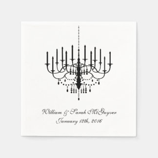 Black Chandelier Wedding Paper  Napkins Disposable Napkins